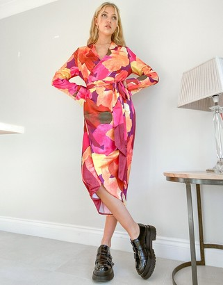 NEVER FULLY DRESSED satin wrap midi dress in abstract paint stroke