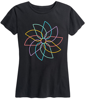 Instant Message Women's Women's Tee Shirts BLACK - Black Rainbow Pinwheel Relaxed-Fit Tee - Women & Plus