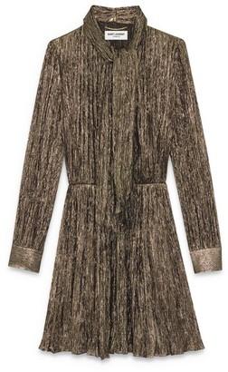 Saint Laurent Metallic Pleated Dress