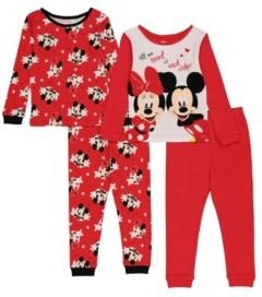 AME Minnie Mouse Toddler Girls 4-Piece Pajama Set