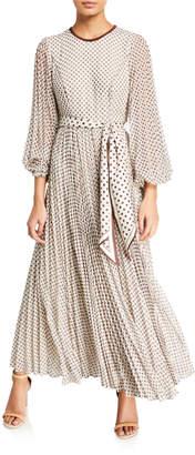 Zimmermann Sunray Dot-Print Pleated Maxi Dress w/ Belt