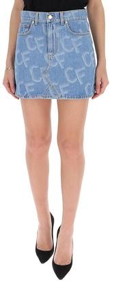 Chiara Ferragni Logo Print Denim Skirt