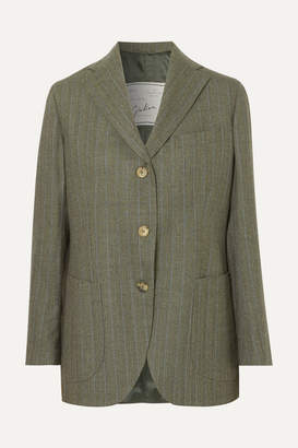 Giuliva Heritage Collection Andrea Pinstriped Wool Blazer - Dark green