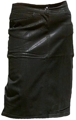 Fornarina Woman Skirt Black Model Supple-STR. Gabardine Skirt Stretch Waxed Leather Optics Rock Star Gothic Designer L W30
