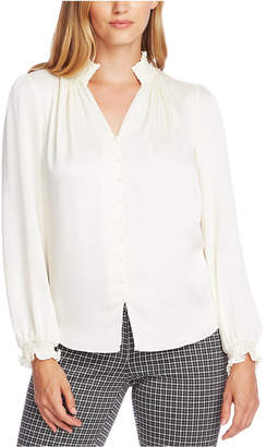 Vince Camuto Smocked-Trim Blouse
