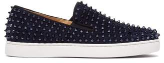 Christian Louboutin Roller Boat Spike-embellished Slip-on Trainers - Mens - Blue