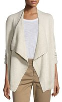 Vince Ribbed Draped-Front Cardigan