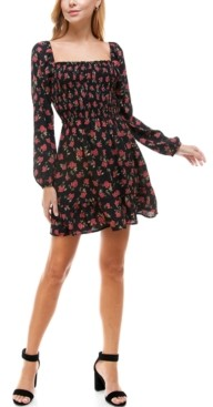 Trixxi Juniors' Floral-Print Smocked A-Line Dress