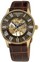 Akribos XXIV Men's Bravura Slim Mechanical Watch with Leather Strap AK499YG