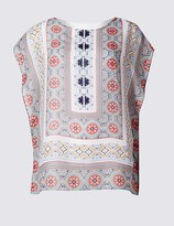 Marks and Spencer Mosaic Print Round Neck Cap Sleeve T-Shirt