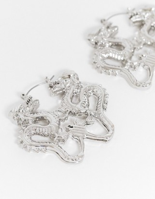 ASOS DESIGN earrings with mirrored dragons in silver tone