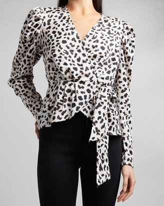 Express Leopard Puff Shoulder Wrap Front Tie Top