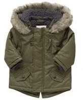 F&F Faux Fur Trim Coated Parka, Newborn Boy's
