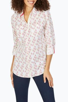 Foxcroft Zoey Flamingo Print Roll Sleeve Shirt