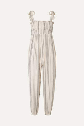 Hatch The Jojo Smocked Crinkled Cotton-gauze Jumpsuit - Off-white