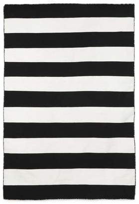 Pottery Barn Alfie Stripe Indoor/Outdoor Recycled Material Rug - Black