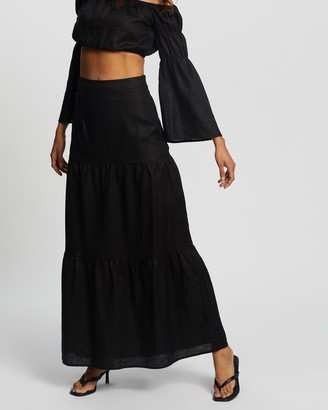 AERE - Women's Black Maxi skirts - Tiered Maxi Skirt - Size 6 at The Iconic