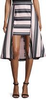 Halston Striped High-Low Structured Skirt