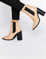 Sol Sana Lori Nude Patent Leather Heeled Ankle Boots