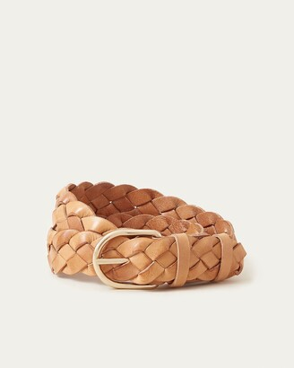 Loeffler Randall Carson Braided Leather Belt Timber