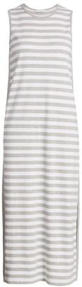 Joan Vass Petite Stripe Cotton Midi Dress