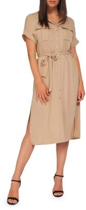 Dex Belted Short-Sleeve Shirtdress