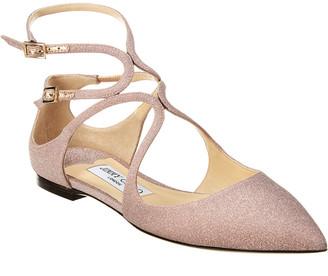 Jimmy Choo Lancer Glitter Leather Ballerina Flat