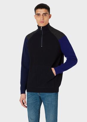 Paul Smith Men's Dark Navy Colour-Block Half-Zip Wool-Blend Sweater