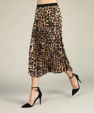 Suzanne Betro Women's Casual Skirts 101 - Brown Leopard Pleated Skirt - Women & Plus