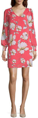 WORTHINGTON Worthington Long Sleeve Floral Sheath Dress