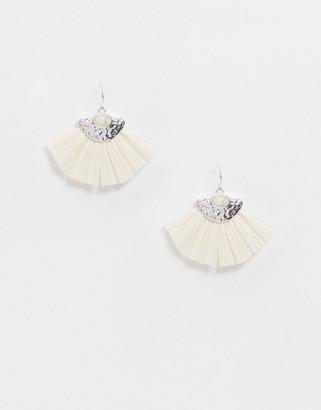 Pieces tassel fan drop down earrings in silver and cream