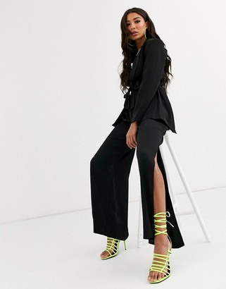 Parallel Lines oversized wrap blazer with belt detail two-piece