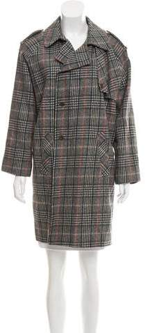 Les Prairies de Paris Plaid Wool Coat