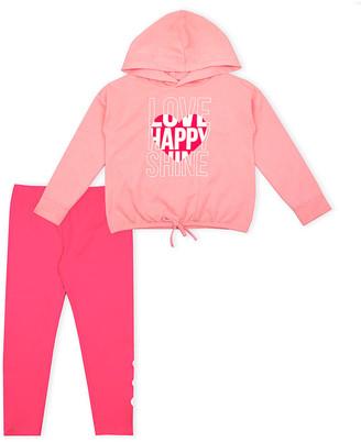 Aeropostale p.s. from Girls' Leggings CORLT - Light Pink 'Love' Drawstring-Waist Hoodie & Hot Pink Leggings - Girls