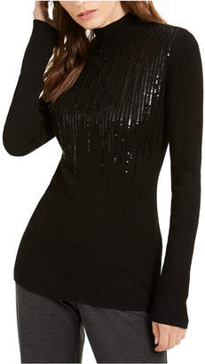 INC International Concepts Inc Mock-Neck Drip Sequin Sweater