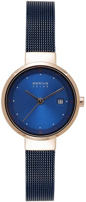Bering Women's Solar Two Tone Stainless Steel Mesh Watch - 14426-367