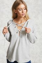 Forever 21 FOREVER 21+ French Terry Lace-Up Hoodie