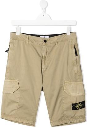 Stone Island Junior Beige Cotton Bermuda Shorts With Logo