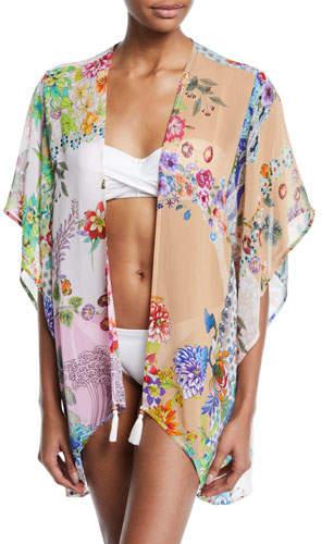 Johnny Was Plus Plus Size Ember Floral Short Kimono Coverup