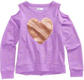 Epic Threads Cold Shoulder Sequin-Heart Sweatshirt, Big Girls, Created for Macy's