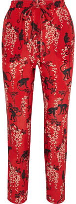 RED Valentino Cropped Printed Silk Crepe De Chine Slim-leg Pants