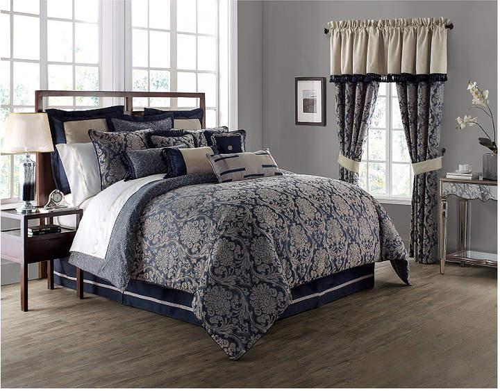 Waterford Sinclair Indigo Reversible Queen Comforter Set