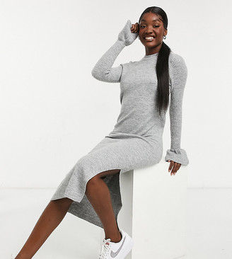Asos Tall ASOS DESIGN Tall knit dress with bell sleeve detail in heather gray