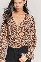 Forever 21 Animal Print Plunging Top