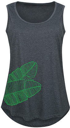 Instant Message Plus Women's Tank Tops HEATHER - Heather Charcoal Banana Leaf Palm Side Hit Tank - Plus