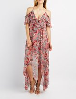 Charlotte Russe Floral Cold Shoulder Maxi Wrap Dress