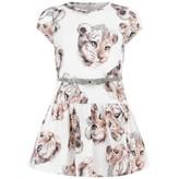 MonnaLisa MonnalisaGirls White Tiger Cub Jersey Dress