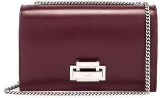 Saint Laurent Fermoir Art Deco Leather Crossbody Chain Bag in Rouge Legion | FWRD