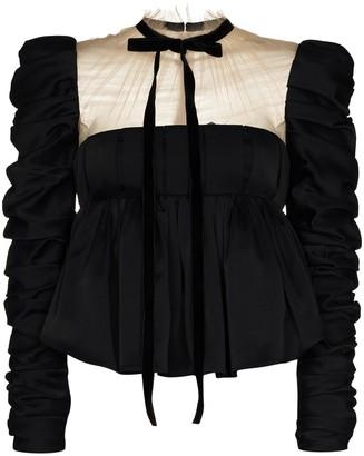KHAITE Fanny sheer neck peplum blouse