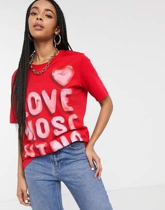 Love Moschino slogan logo t-shirt-Red